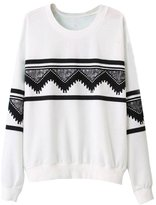 SODIAL(R) Fashion Europe Womens Ethnic Print Blouse Hoodie Sweat Sweatshirt