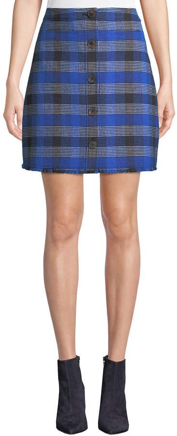 Derek Lam 10 Crosby A-Line Button-Front Check Mini Skirt