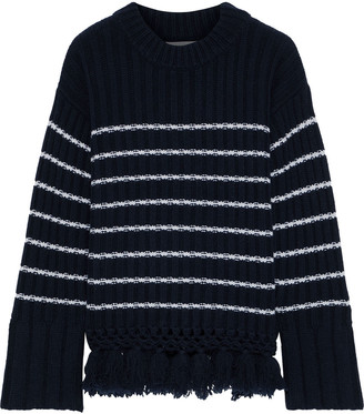 Each X Other Striped Ribbed Wool Sweater