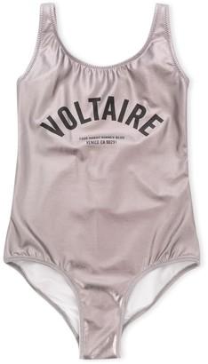 Zadig & Voltaire Kids Metallic Logo Swimsuit