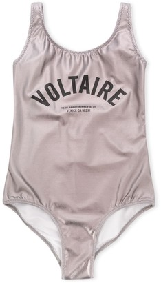 Zadig & Voltaire Kids Metallic Logo Swimsuit