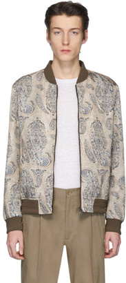 Etro Beige Paisley Print Bomber Jacket
