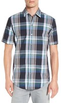 BOSS 'Robb' Slim Fit Plaid Short Sleeve Sport Shirt