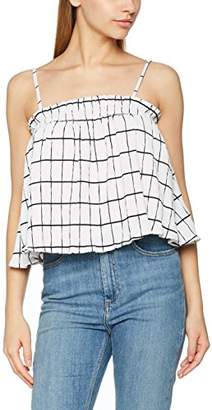 MinkPink Women's Check Ruffle Trapeeze Vest Top,(Size:Large)