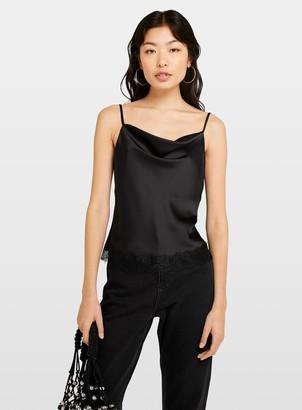 Miss Selfridge Black Lace Trim Cowl Camisole Top