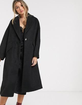 Topshop textured coat in black