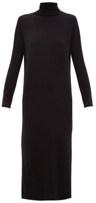 Allude Roll-neck Cashmere Sweater Dress - Black