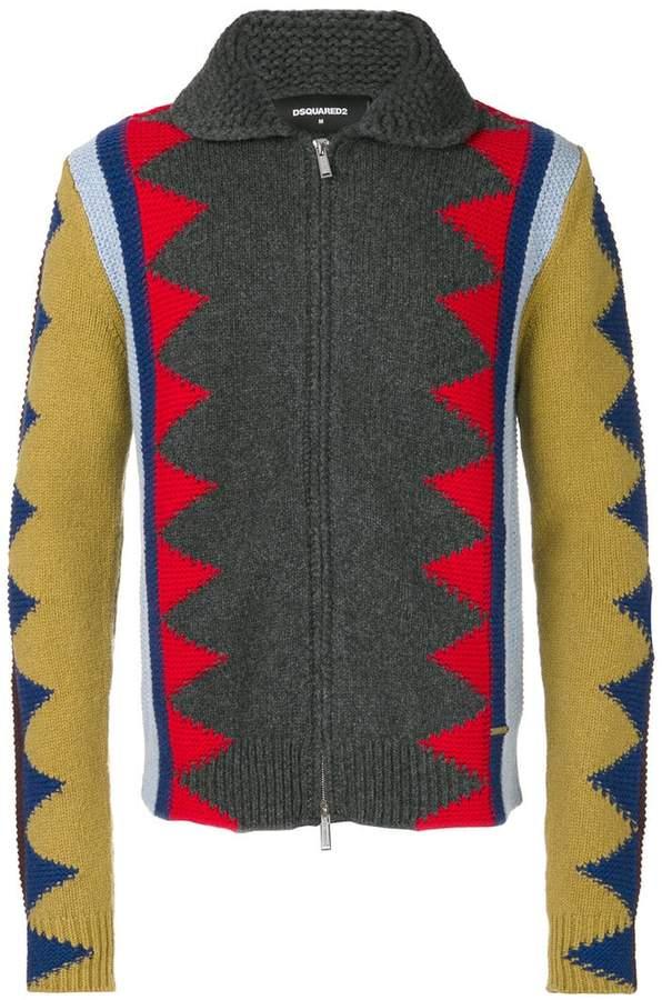 DSQUARED2 zig-zag intarsia cardigan