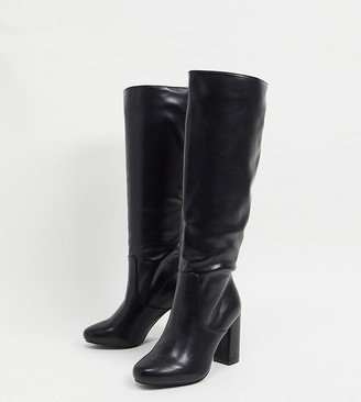 Raid Wide Fit Dileni pull on knee boots in black