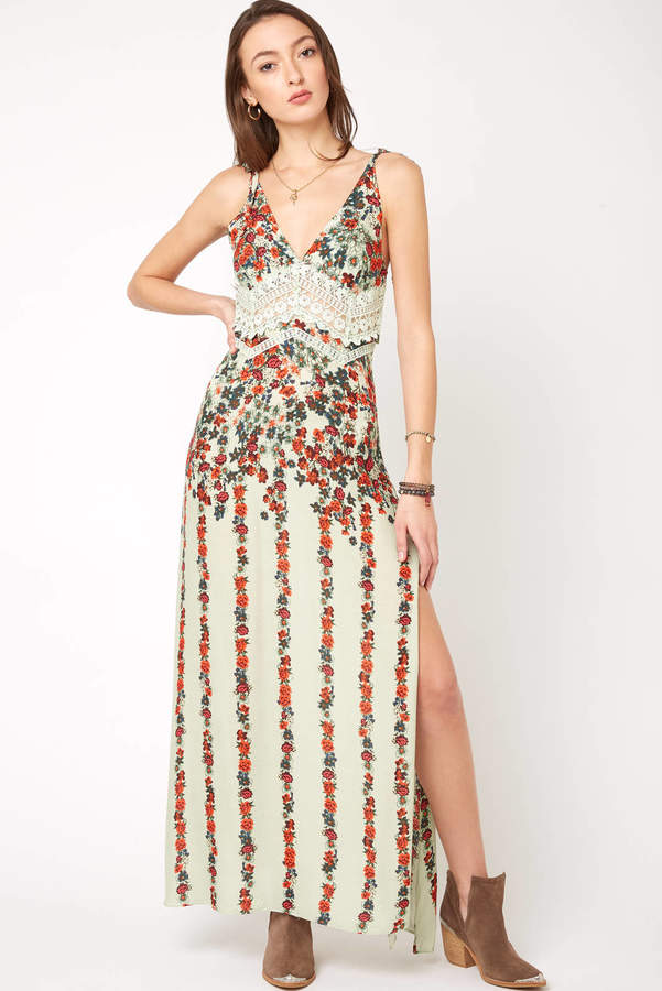 Free People Claire Printed Maxi Slip Dress
