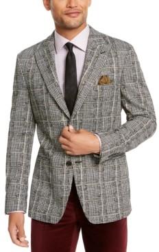 Tallia Men's Slim-Fit Black/White Plaid Dinner Jacket