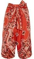 Moschino Cropped Printed Silk-Twill Wide-Leg Pants