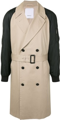 Ports V Contrast Sleeve Trench Coat
