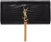 Saint Laurent Black Croc-embossed Kate Tassel Clutch