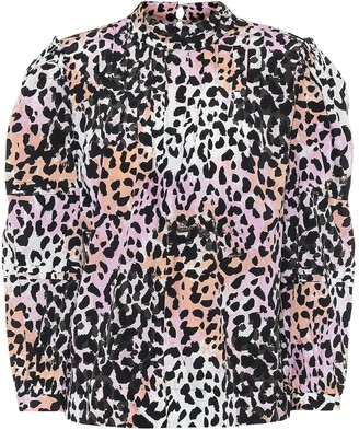 Veronica Beard Lety leopard-print stretch-silk top