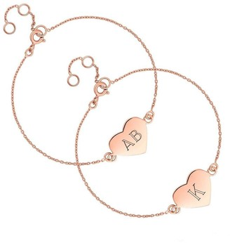 Simply Silver Rose Gold Plated Sterling Silver Personalised Engravable Heart Disc Bracelet