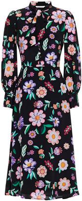 Olivia Rubin Clementine Pussy-bow Floral-print Silk Midi Dress