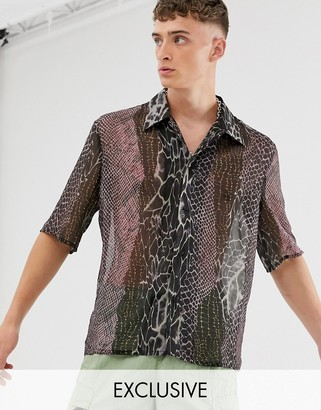 Reclaimed Vintage spliced animal print shirt-Multi