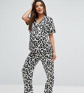 Asos Leopard Print Satin Short Sleeve Shirt and Long Leg Pajama Set
