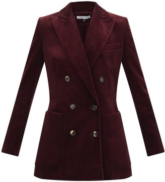 Bella Freud Bianca Double-breasted Corduroy Jacket - Burgundy