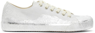 Maison Margiela Grey and Silver Leather Paint Tabi Sneakers