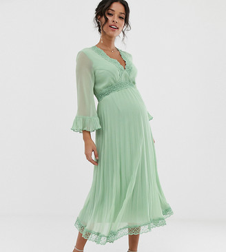 Asos DESIGN Maternity pleated midi dress with lace inserts