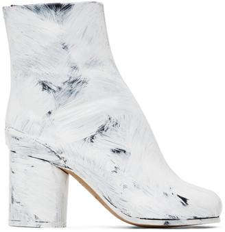 Maison Margiela Black and White Painted Tabi Heel Boots