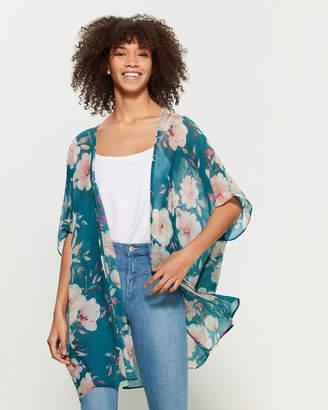 Apricot Teal Floral Print Kimono