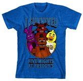 Bioworld I Survived Five Nights at Freddy's Youth Sapphire T-Shirt Boys Tee SM-XL