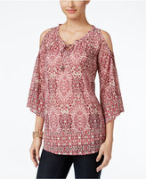 Style&Co. Style & Co. Printed Cold-Shoulder Top, Only at Macy's