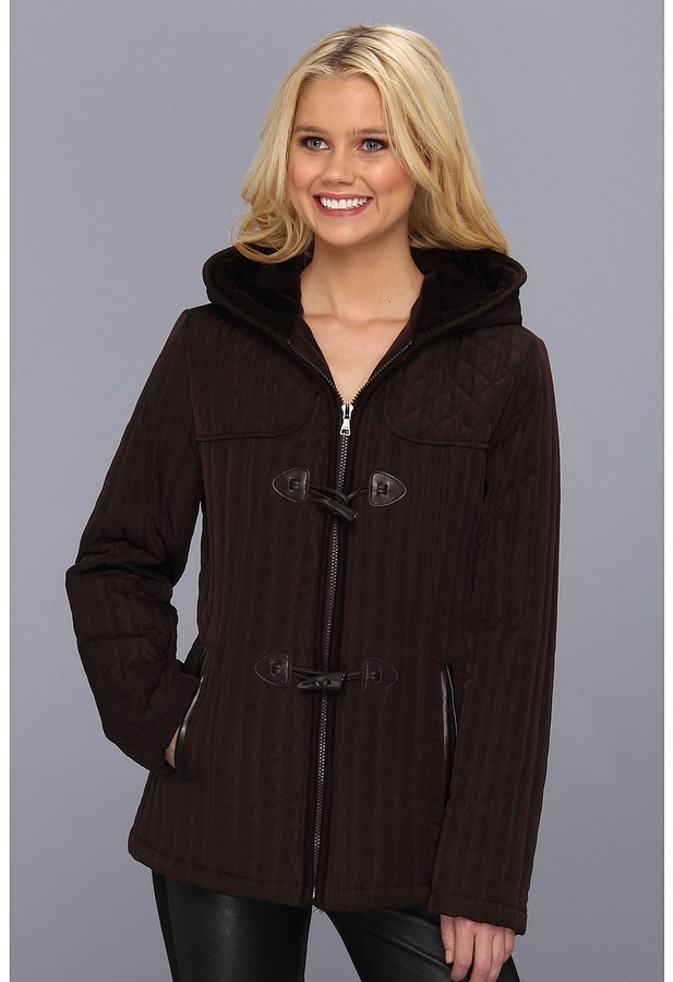 Esprit Hooded Mini Quilt with Toggle Front/Knit Trim (Espresso) - Apparel