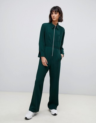 Asos zip front jumpsuit-Green