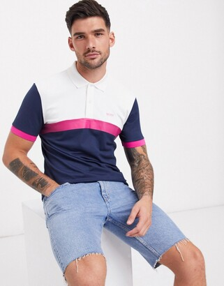 BOSS Athleisure Paule 3 slim fit colour block polo in navy