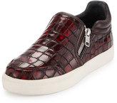 Ash Intense Crocodile-Embossed Skate Sneaker, Cardinal