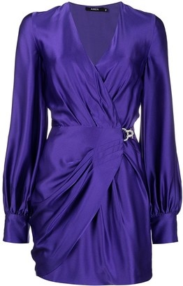 Amen Draped Satin Mini Dress