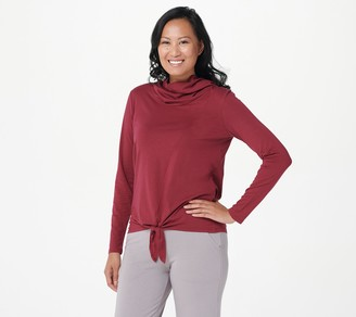 AnyBody Cozy Knit Jersey Cowl Neck Tie Front Top