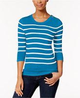 Kensie Striped Button-Detail Sweater