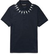 Neil Barrett Slim-fit Printed Cotton-piqué Polo Shirt