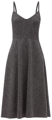 Valentino V-neck Wool-blend Tweed Midi Dress - Grey