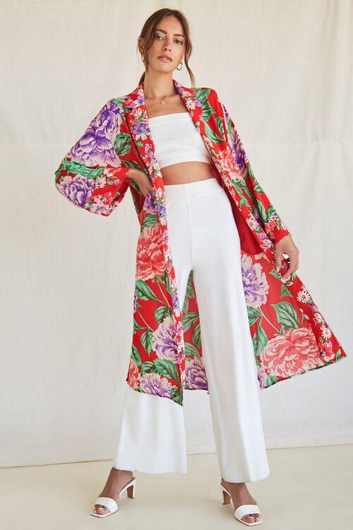 Forever 21 Tropical Print Collared Kimono