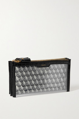 Anya Hindmarch I Am A Plastic Bag Leather-trimmed Printed Coated-canvas And Pvc Pouch - Black