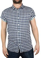 Scotch & Soda Men's Short Sleeve Shirt In Open Weave with Contrast Inside