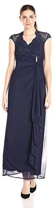 Onyx Nite Women's Long with Lace Sweetheart Neck Side Cascade