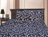 "Elegant Comfort 1500 Thread Count Egyptian Quality Super Soft Wrinkle Resistant & Fade Resistant Beautiful Leaf Design 4-Piece Sheet set, Deep Pocket Up to 16"" - King Navy Blue"