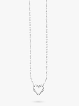 Thomas Sabo Glam & Soul Filigree Cubic Zirconia Pave Heart Pendant Necklace, Silver