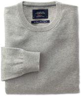 Charles Tyrwhitt Light Grey Cotton Cashmere Crew Neck Jumper Size XXL