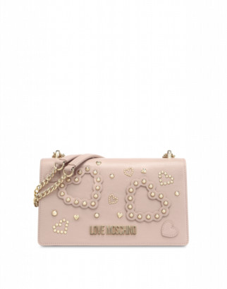 Love Moschino Shoulder Bag With Hearts And Studs Woman Pink Size U It - (one Size Us)
