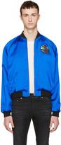 Saint Laurent Blue Teddy sweet Dreams Shark Bomber Jacket