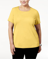 Karen Scott Plus Size Cotton Scoop-Neck T-Shirt, Only at Macy's