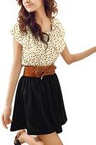 uxcell® Women Dots Print Elastic Waist Mini Dress w Belt Black Beige L